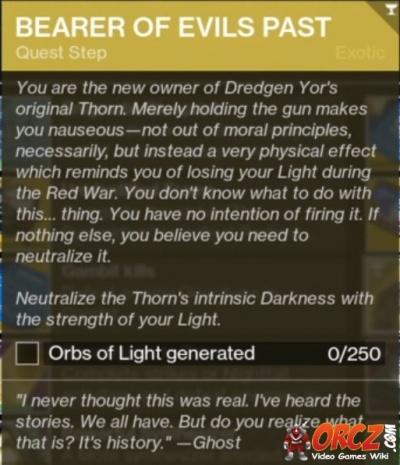 Generate 250 Orbs of Light (Bearers of Evil Past)